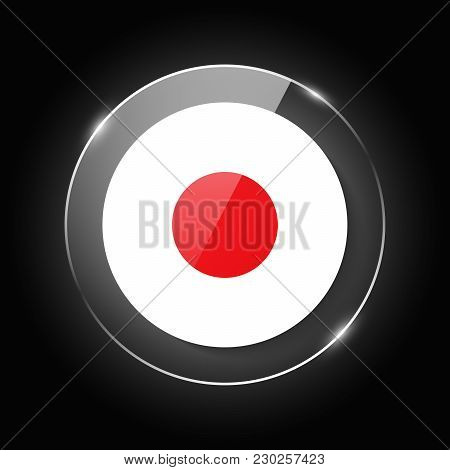 Japan National Flag. Application Language Symbol. Country Of Manufacture Icon. Round Glossy Isolated