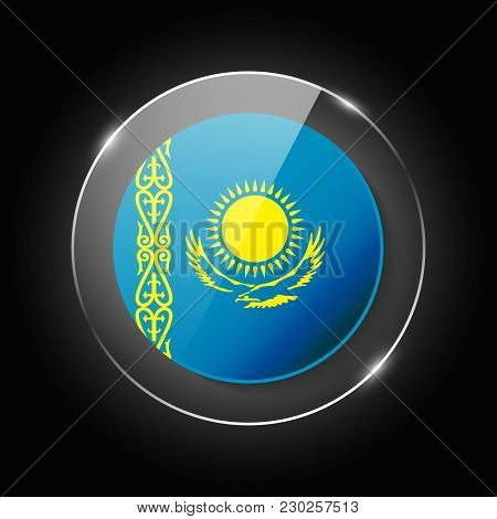 Kazakhstan National Flag. Application Language Symbol. Country Of Manufacture Icon. Round Glossy Iso