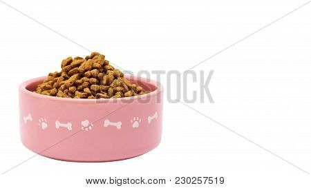 Dry Pet Food In Bowl Isolated On White Background. Copy Space, Template.