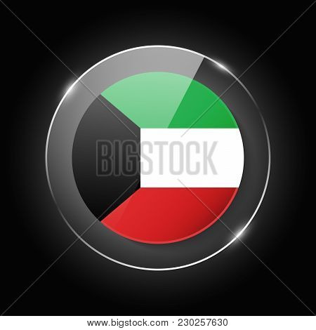 Kuwait National Flag. Application Language Symbol. Country Of Manufacture Icon. Round Glossy Isolate