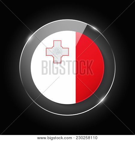 Malta National Flag. Application Language Symbol. Country Of Manufacture Icon. Round Glossy Isolated