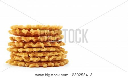 Homemade Crisp Waffle. Isolated On White Background. Copy Space, Template.