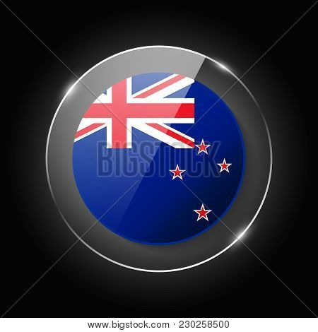 New Zealand National Flag. Application Language Symbol. Country Of Manufacture Icon. Round Glossy Is
