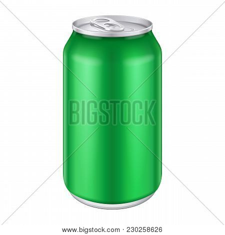 Green Metal Aluminum Beverage Drink Can 500ml. Ready For Your Design. Product Packing Vector Eps10
