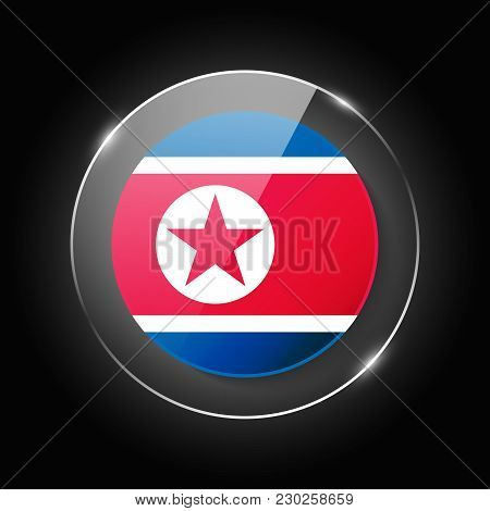 North Korea National Flag. Application Language Symbol. Country Of Manufacture Icon. Round Glossy Is