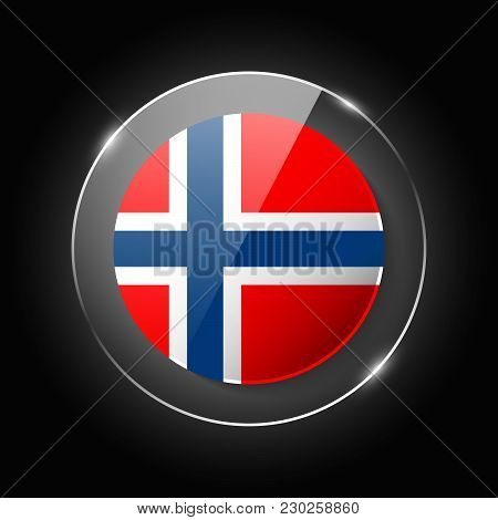 Norway National Flag. Application Language Symbol. Country Of Manufacture Icon. Round Glossy Isolate