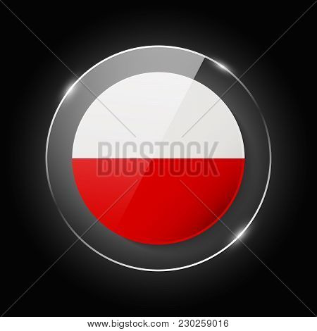 Poland National Flag. Application Language Symbol. Country Of Manufacture Icon. Round Glossy Isolate