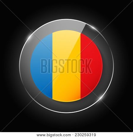 Romania National Flag. Application Language Symbol. Country Of Manufacture Icon. Round Glossy Isolat