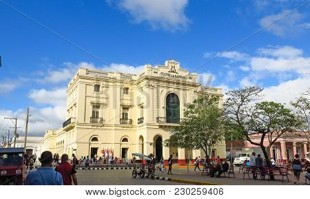 Santa Clara, Cuba - January 11, 2017: Theater Caridad. A National Monument Of Cuba Was Built In 1885
