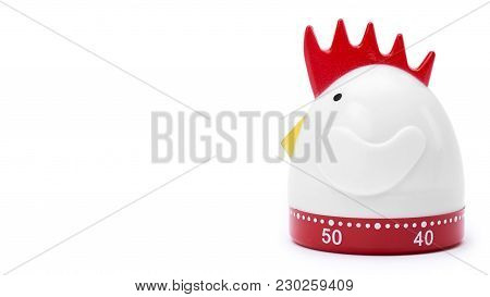 Plastic Kitchen Timer Isolated On White Background. Copy Space, Template