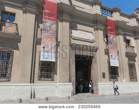 Santiago De Chile, Chile - January 26, 2018: Tourists Visiting Museo Chileno De Arte Precolombino (i