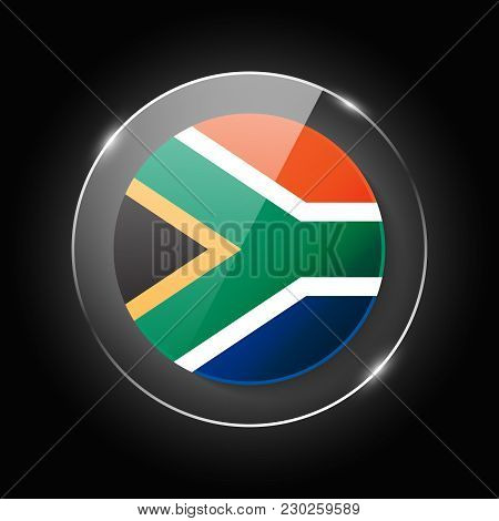 South Africa National Flag. Application Language Symbol. Country Of Manufacture Icon. Round Glossy I