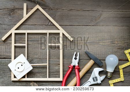 House Renovation Construction And Improvement Diy Tools Background Concept