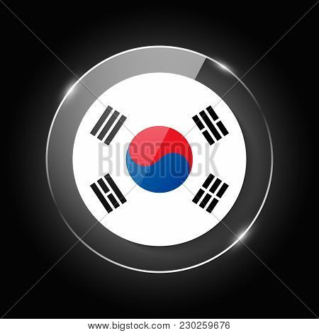 South Korea National Flag. Application Language Symbol. Country Of Manufacture Icon. Round Glossy Is