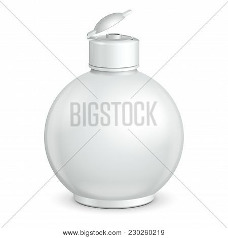 Opened Cosmetic Or Hygiene Grayscale White Round Plastic Bottle Of Gel, Liquid Soap, Lotion, Cream,
