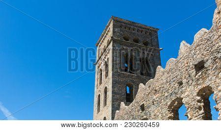 The Romanesque Abbey Of Sant Pere De Rodes In Cap De Creus Natural Park. It Is A Former Benedictine