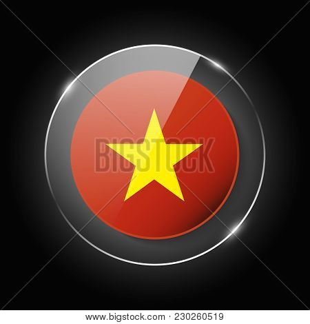 Vietnam National Flag. Application Language Symbol. Country Of Manufacture Icon. Round Glossy Isolat