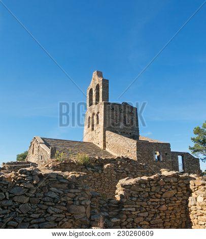 The Romanesque Church Of Sant Pere De Rodes In Cap De Creus Natural Park. It Is A Former Benedictine