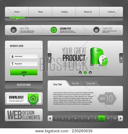 Modern Clean Website Design Elements Grey Green Gray:  Navigation Bar, Download, Pagination. Eps 10