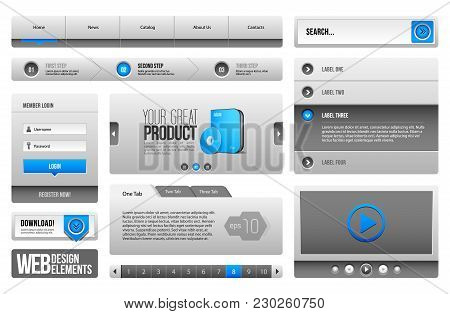 Modern Clean Website Design Elements Grey Blue Gray: Icons, Tab, Menu, Navigation Bar, Download, Pag