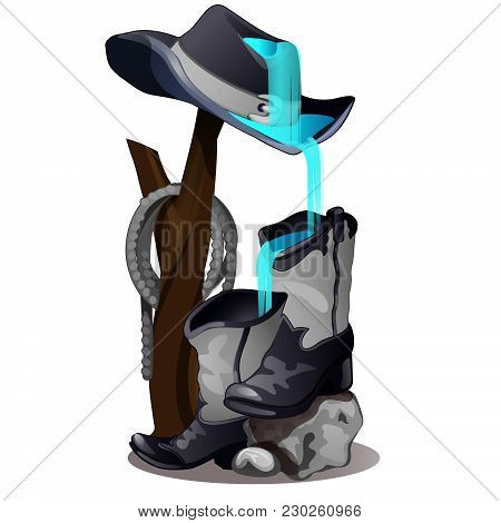 Waterfall From Cowboy Hats And Boots. Landscape Design. Vector.