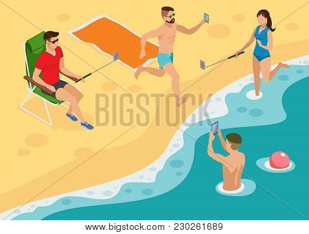 Social Photo Isometric Composition With Young People On South Marine Beach  Making Selfie By Monopod