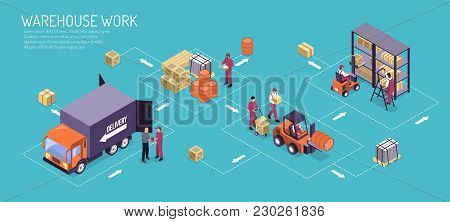 Warehouse Work Horizontal Illustration With Isometric Logistic Flowchart From  Stacking And Storage