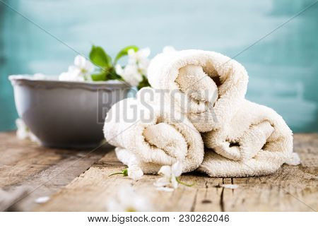 Spa And Wellness Setting With Natural Soap, Candles And Towel. Beige Dayspa Nature Set With Copyspac
