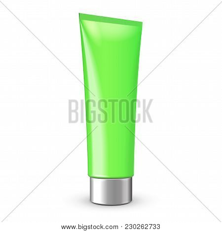 Tube Of Cream Or Gel Green Clean With Gray Silver Chrome Lid. Ready For Your Design. Product Packing