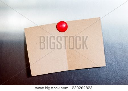 Empty Paper Sheets On Fridge Door Background