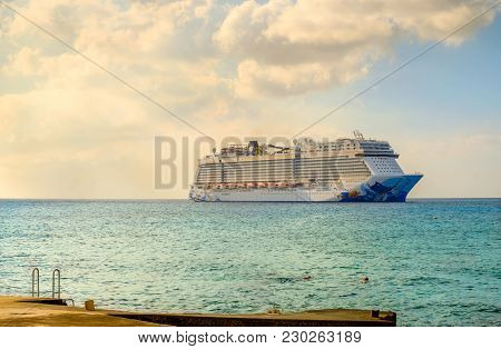 Grand Cayman, Cayman Islands, Feb 2018, The Norwegian Epic Cruise Ship On The Caribbean Sea Moored B