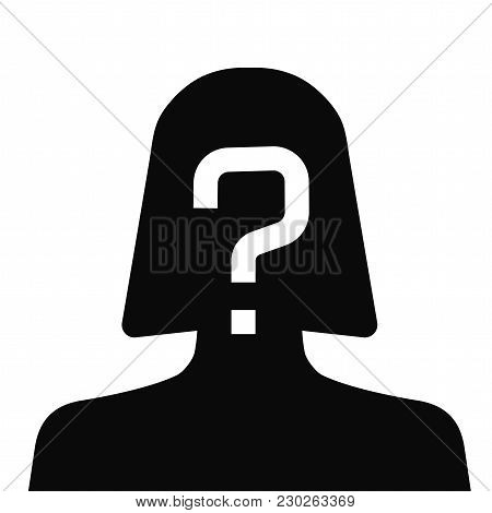 Incognito, Unknown Person, Silhouette Of Female On White Background