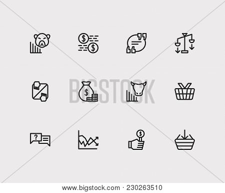 Finance Icons Set. Quote And Finance Icons With Bear Market, Buy And Yield. Set Of Elements Includin