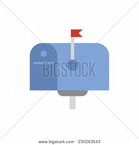 Mail Box Icon Flat Symbol. Isolated Vector Illustration Of  Icon Sign Concept For Your Web Site Mobi