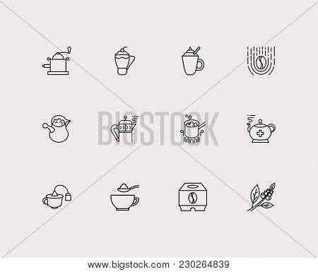 Cafe Icons Set. Hand Coffee Grinder And Cafe Icons With Stovetop Espresso, Coffee Beans And Cafe Mac
