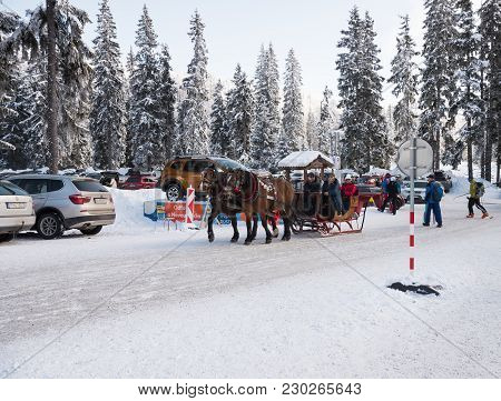 Strbske Pleso, High Tatras, Slovakia - February 11, 2018: Horse Sleigh Carriage In Strbske Pleso.