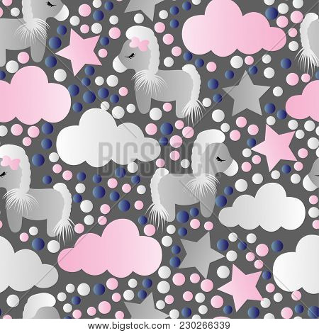 Seamless Pattern With A Cartoon Cute Toy Pony, Clouds And Stars On A Gray Background