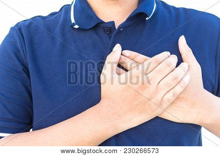 Man Having Chest Pain - Heart Attack Isolated On White Background