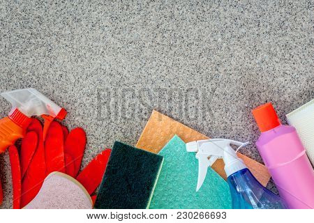 Cleaning Items And Housework Concept At Home