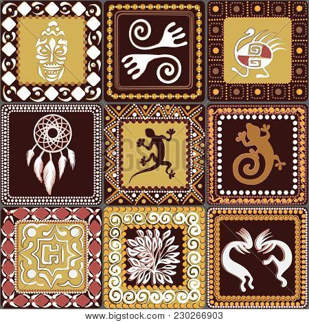 Seamless Pattern With Squares Pattern With Imitation Of Elements Of Rock Art Of Ancient Indians, Azt