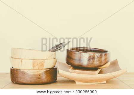 Still Life With Kitchen Wooden Utensils On Wooden Table