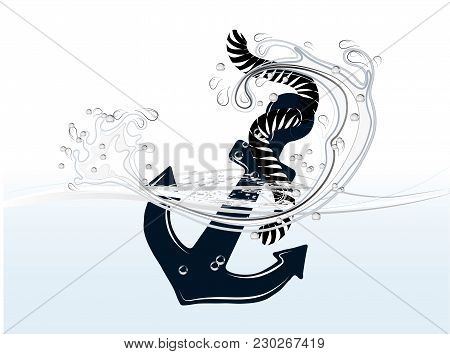Blue Anchor In Water Isolated On White Background