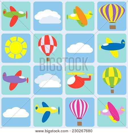 Air Transportation With Clods. Seamless Vector Pattern,background