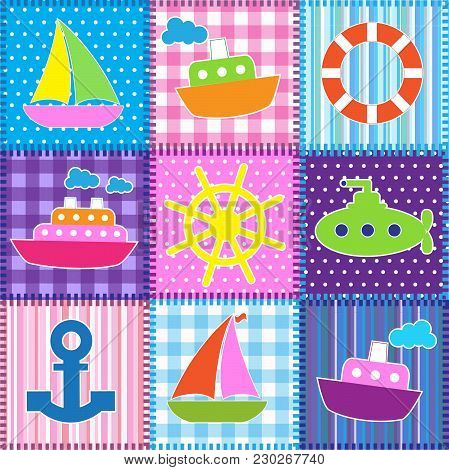 Patchwork In Marine Style.seamless Baby Vector Background