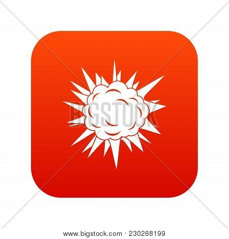 Terrible Explosion Icon Digital Red For Any Design Isolated On White Vector Illustration