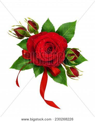 Festive Arrangement With Red Rose Flowers And Silk Ribbon Bow Isolated On White Background. Flat Lay