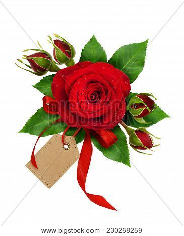 Holiday Arrangement With Red Rose Flowers And Silk Ribbon Bow Isolated On White Background. Flat Lay