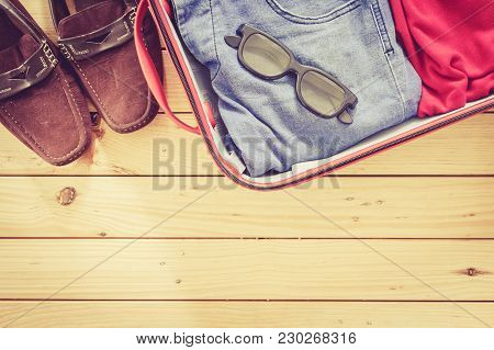 Men's Casual  In Suitcase On Wooden Table,travel Suitcase Man Vacation