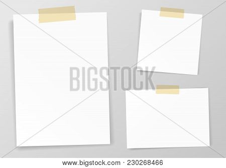 White Sheet Of Paper With Sticky Tape Set Vector Illustration. Realistic Empty Paper Note Template O