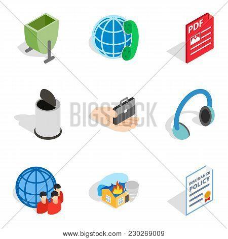 Create Web Icons Set. Isometric Set Of 9 Create Web Vector Icons For Web Isolated On White Backgroun